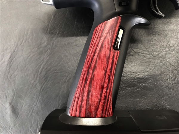 Wood grip for propo FUTABA 7PX [Smooth / Red]
