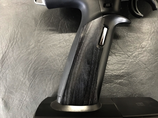 Wood grip for propo FUTABA 7PX [Smooth / Black]